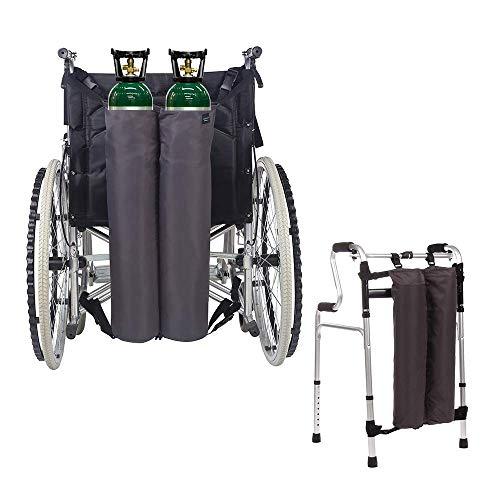 """Mochila de oxígeno Bolsas para silla de ruedas Portador del tanque Portátil Bolsa de transporte de oxígeno para andador, médico, Se adapta a la botella de cilindro en """"D"""" y """"E"""" (2 Bolsas)"""