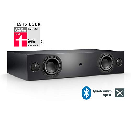 Nubert nuBox AS-225 Soundbar Testsieger   Soundplate für Streaming   TV-Lautsprecher mit Bluetooth aptX   Soundbase mit 2 Wege Technik   vollaktive Stereobase für Spitzenklang   Sounddeck Schwarz