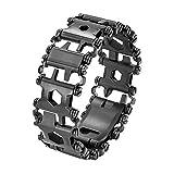 Newin Star Bracelet Multifonctions en Acier Inoxydable Bracelet de Bande de roulement extérieur Pilote Outils Kit Voyage Multitool Noir