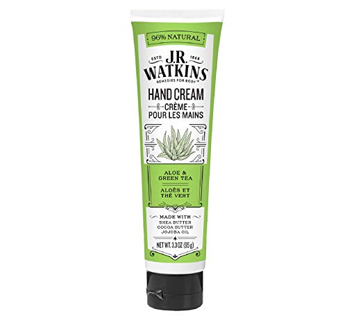 J.R. Watkins Natural Moisturizing Hand Cream, Aloe & Green Tea, Single, Hydrating Hand Moisturizer with Shea Butter, Cocoa Butter, and Avocado Oil, USA Made and Cruelty Free, 3.3oz