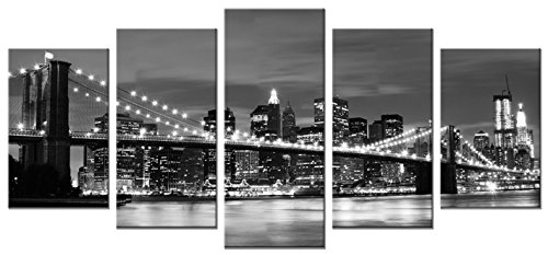 Wieco Art Brooklyn Bridge Night View 5 Panels Modern Landscape...