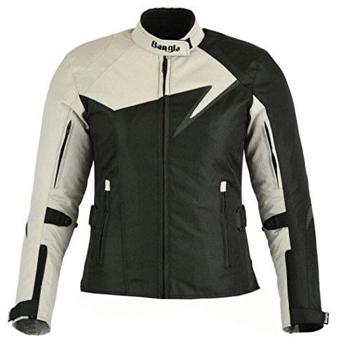 Bangla Modische Damen Motorradjacke Touren Jacke Bikerjacke B-11 Textil grau L