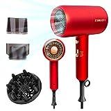 Sumgott Asciugacapelli 2300W Professionale Ioni Asciugacapelli Diffusore Rosso Con 2 Ugelli Modellanti e 1 Diffusore, 3 Impostazioni di Temperatura,...