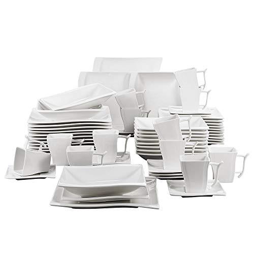 MALACASA, Serie Flora, 60 TLG. Cremeweiß Porzellan Geschirrset Kombiservice Tafelservice mit je 12 Kaffeetassen, 12 Untertassen, 12 Dessertteller, 12 Suppenteller und 12 Flachteller