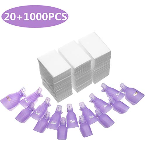 INFILILA Nail Polish Remover Clip Set-20pcs Nail Clip Caps Nail Soak Off Clips For Finger And Toe & 1000pcs Lintfree Nail Polish Remover Wipes For UV Gel Acrylic Nail Polish Removal