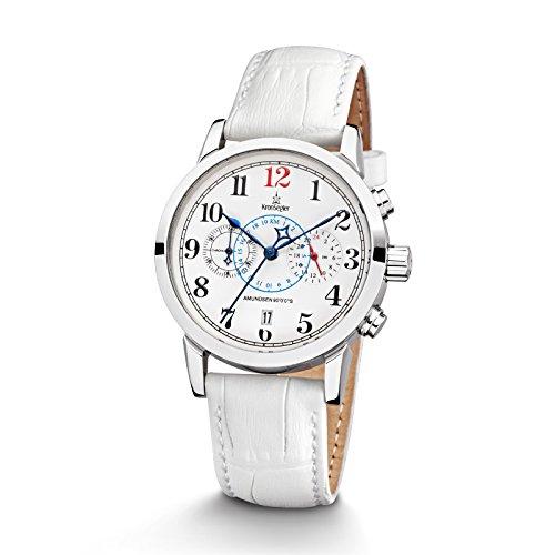 Kronsegler Amundsen 90°0'0''S Damen Chronograph & Telemeter Stahl-Weiss/Weiss