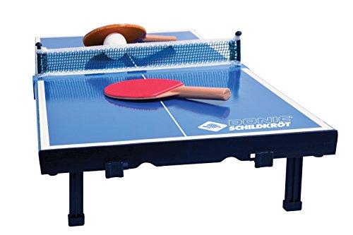 Donic-Schildkröt Tischtennis-Mini-Tisch, komplettes Set mit 2 Schlägern und 1 Ball, Platte zusammenklappbar - Aktenkoffer-Größe, Blau, Abmessungen Platte: 68 x 33 x 9 cm, 838576