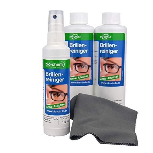 bio-chem Brillenreiniger-Spray mit Anti-Beschlag Funktion Antistatik-Spray Reinigungs-Set 100 ml Sprayflasche/ Pumpflasche + 2 x 250ml Nachfüllflaschen (600 ml) + hochwertiges Mikrofasertuch/ Brillenputztuch microfaser