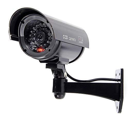 BW 1100B - Telecamera di sicurezza a circuito chiuso finta finta finta con luce lampeggiante a forma di proiettile, colore: Nero