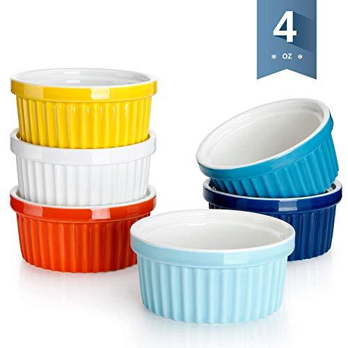 Porcelain Souffle4 Ounce Ramekins - Set of 6, Assorted Colors