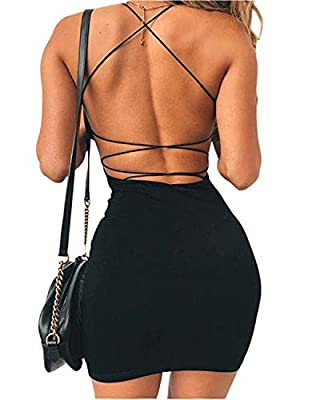 ✿【Features】Women's Sexy Scoop Neck/Crew Neck Sequin Spaghetti Strap Tank Dress Basic Backless Bodycon Club Party Mini Dress.Sleeveless,Straight Neckline,Open Back,Lace Up Tie,Cutout Back,Above Knee,Solid Color Backless Club Cocktail Party Dress,Bodyc...