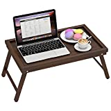 Zhuoyue Bamboo Bed Breakfast Tray with Folding Legs - Food or TV Dinner Tray for Eating in Bed