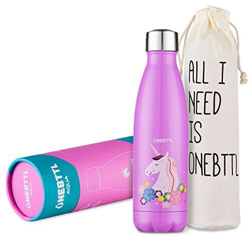Unicornio Botella Agua sin bpa niños Acero Inoxidable, Cosas de Unicornios para niñas cumpleaños y Fiesta Destello, cantimplora Infantil niña 500ml Aqua
