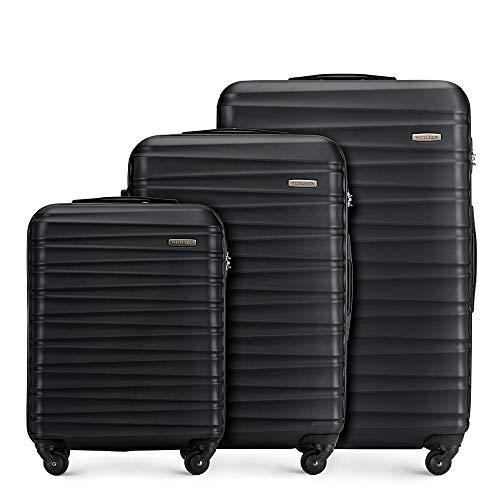 Stabiler Koffer-set 3tlg. Trolley Koffer Reisekoffer von Wittchen Schwarz ABS Hartschalen kofferset Trolley 4 rollen Kombinationsschloss