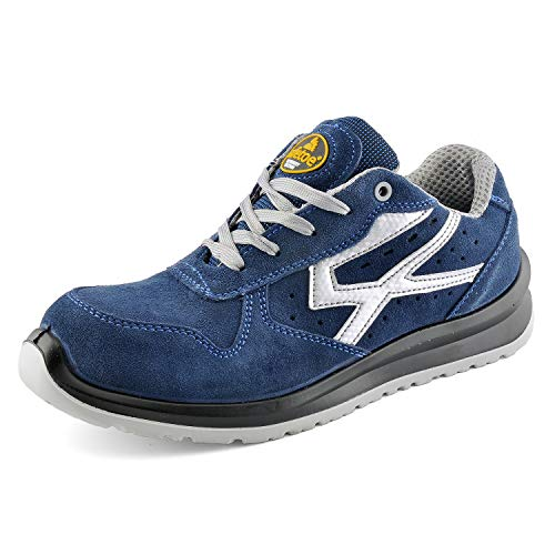 Zapatos de Seguridad para Hombres con Puntera de Fibra de Vidrio - SAFETOE 7328 Zapatillas Ultra-Ligeras Azul (Talla 45, Azul)