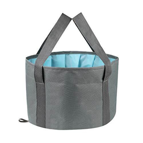 MOMFEI Collapsible Foot Bath Tub for Travel, Portable Foot Soak Spa Basin Multifunctional Folding Water Bucket for Soaking Feet, Washing Vegetables and Fruits, Outdoor, Camping (Gray)