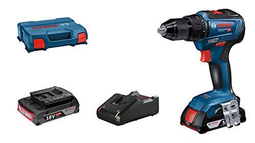 Bosch Professional 06019H5205 Gsr 18V-55-Atornillador (2 Baterías X 2.0 Ah, 18V, 55 Nm, En L-Case), 18 V, Azul