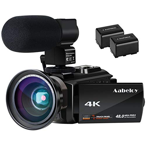 4K Camcorder, Aabeloy Vlogging Video Camera Ultra HD Wi-Fi Digital Camera 48.0MP 3.0 inch Touch...