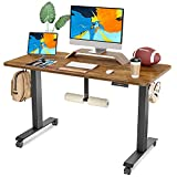 FAMISKY Dual Motor Adjustable Height Electric Standing Desk with Footrest, 48 x 24 Inches Stand up Home Office Desk with Splice Tabletop, Black Frame/Walnut Top