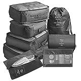 Sentao Organisateurs de Voyage Imperméables, 8 Pcs Sac Organiseurs de Bagage, Sacs Rangement de Valise Voyage, Cube d'emballage, Vêtements Valises, Sacs de...