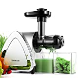Juicer Machines, HOMEVER Cold Press Juicer with 95% Juice Yield, Slow Masticating Juicer for Vegetable and Fruit[BPA-Free], Easy to Clean with Juice Jug&Brush, Quiet Motor and Reverse Function-Silver