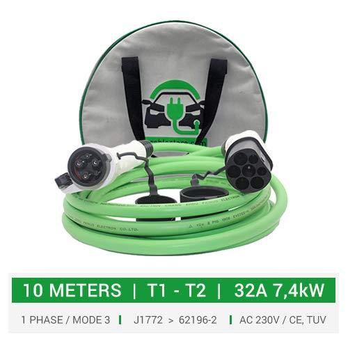 Cable de carga tipo 1 a tipo 2 para coches eléctricos, PHEV. 32A - 10 metros