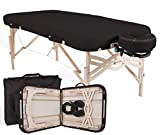 """EARTHLITE Premium Portable Massage Table Package SPIRIT - Spa-Level Comfort, Deluxe Cushioning incl. Flex-Rest Face Cradle & Strata Face Pillow, Carry Case (30/32"""" x 73"""") - Made in USA, Black"""