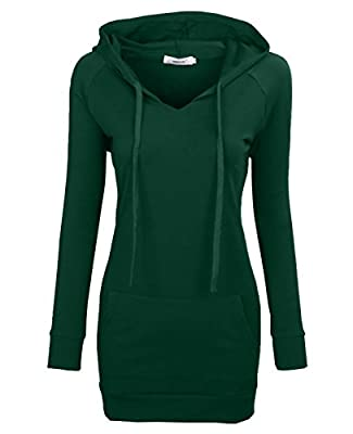 Material: 80% cotton and 20% polyester,this women top is lightweight,soft and comfy,the fabric is stretchy,will not cling your skin and make you feel comfortable,an essential trendy tunic hoodie for your wardrobe. Features: Crew Neck/Long Sleeve/Knit...