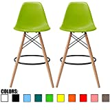 2xhome - Set of Two (2) - Green - 28' Seat Height DSW Molded Plastic Modern Bar Stool Barstool Counter Stools with Backs and armless Natural Legs Wood Eiffel Legs Dowel-Leg