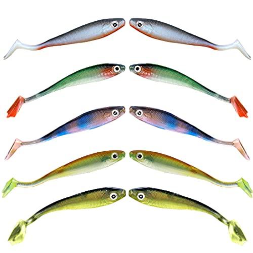 Miotlsy Set di 10 Esche Artificiali per la Pesca predatoria Esca Swimbait Affondamento Lento, Pesca Accessori Kit Pesca per Acqua Dolce e Salata, Regalo Pesca per Uomo