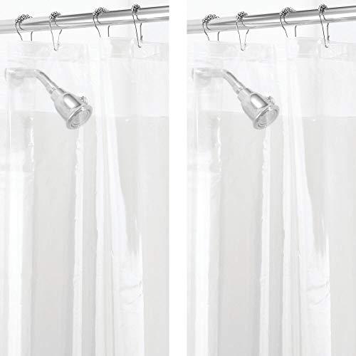 mDesign Plastic, Mold/Mildew Resistant, PEVA Shower Curtain Liner for Bathroom Showers and Bathtubs - 3 Gauge - 2 Pack - Clear