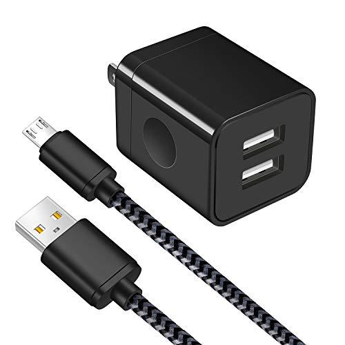 Android Charger, Power-7 Micro USB Cable Braided 6FT with USB Wall Charger Plug (2.1Amp) Charging Block kit Compatible with Samsung Galaxy S7/S6 Edge/S4/Note 5/J7, LG G4 G3, Moto, Tablets (Black)
