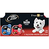 CESAR Soft Wet Dog Food Loaf & Topper in Sauce Bacon Feast Variety Pack, (24) 3.5 oz. Easy Peel Trays