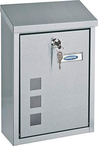 Rottner T06047 Casa INOX Design-Briefkasten aus gebürstetem Edelstahl, mit Sichtfenster, Zylinderschloss 2 Schlüssel und Schutzklappe, Inklusive Montagematerial