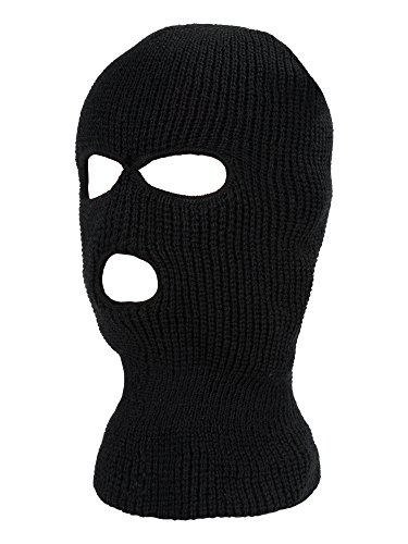 SATINIOR 3-Hole Knitted Full Face Cover Ski Mask, Adult Winter Balaclava Warm Knit Full Face Mask for Outdoor Sports (Black)