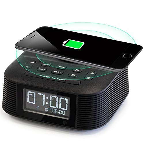 Homtime Wireless Charging Alarm Clock Radio with Dual Alarm, Bluetooth Speaker, Fast Charger, USB Port to Charge Any USB Device, Sleep Timer and Dimmable LCD Display for Bedrooms(Black)