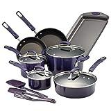 Rachael Ray Brights Nonstick Cookware Pots and Pans Set, 14 Piece, Purple Gradient