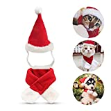 Namsan Cat Christmas Costume Cat Santa Hat with Christmas Scarf Dogs Xmas Outfit Kitten Costumes, Cotton Red