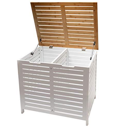 Limal Wäschesammler mit 2 Kammern Bambus Wäschekiste Wäschetruhe Wäschekorb mit Deckel weiß 60 x 70 x 55 cm