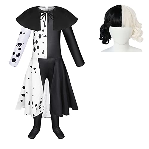 Cefirature Villain Deville Costume for Girls Cosplay Jumpsuit Dress with Wig Halloween 3-12 Years Black