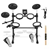Donner DED-100 Electronic Drum Set, Eight Pieces Mesh Electric Drum Set with 195 Sounds, Electric Mesh Drum Kit for Beginner, Drum Sticks & Audio Cables Included, More Stable Iron Metal Support