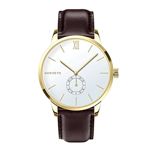 Orologio da polso HARVEYS - Montecarlo Classic Basic - orologio unisex - quadrante in acciaio inossidabile, cinturino in vera pelle, 5ATM