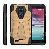 TurtleArmor | Compatible with ZTE ZMax Pro Case | ZTE Blade X Max Case [Dynamic Shell] Hybrid Dual Layer Hard Shell Kickstand Silicone Case - Maple Wood
