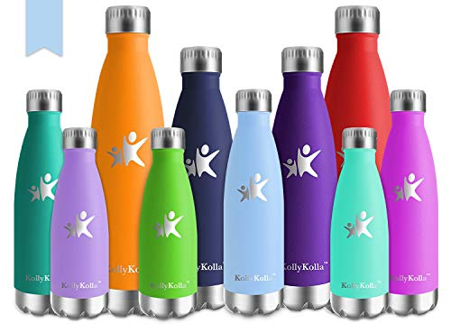 KollyKolla Bottiglia Acqua in Acciaio Inox, 750ml Senza BPA Borraccia Termica, Isolamento Sottovuoto a Doppia Parete, Borracce per Bambini, Scuola, Sport, All'aperto, Palestra, Yoga, Macaron Blu