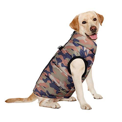 Giacca invernali per cani UEETEK Vestito Giubbotto senza maniche camuffamento imbottito per cane e cucciolo S