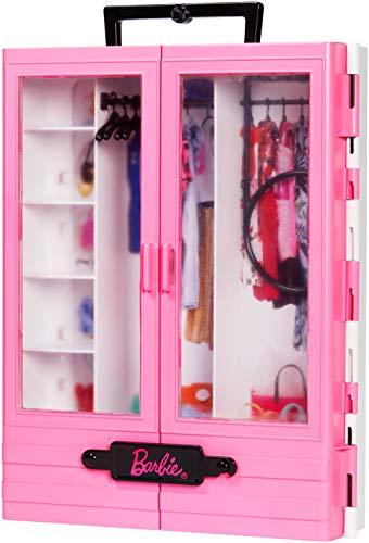 Barbie- Armadio Fashionistas Rosa con Accessori, Bambola Non Inclusa, Giocattolo per Bambini 3+...