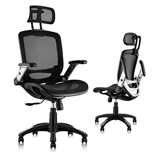Product Image 1: Gabrylly Ergonomic Mesh Office Chair, High Back Desk Chair - Adjustable Headrest with Flip-Up Arms, Tilt Function, Lumbar Support and PU Wheels, Swivel Computer Task Chair