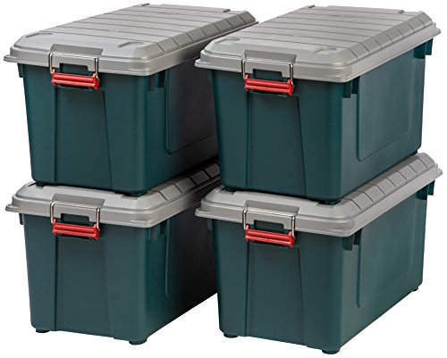 IRIS USA SIA-760D Store-It-All WEATHERTIGHT Totes, 82 Quart, Green/Gray/Red