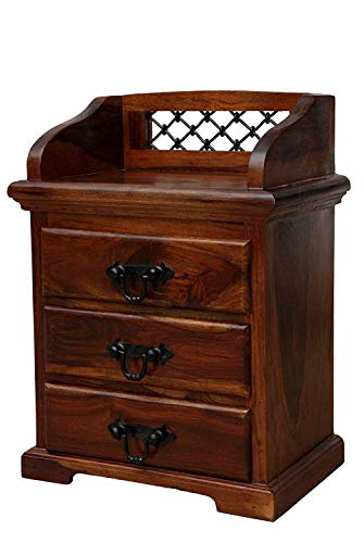 Shagun Arts Sheesham Wood Bedside Table for Bedroom | End Table | Telephone Table | with 3 Drawer & 1 Shelf Storage | Natural Brown Finish