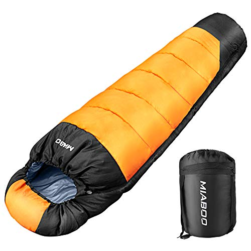 MIABOO 寝袋 マミー型 シュラフ 冬用 保温 210T防水 コンパクト 収納袋付き アウトドア キャンプ 登山 車中...